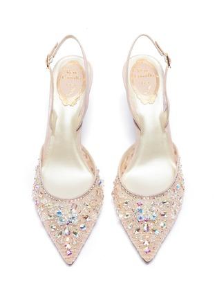 细节 - 点击放大 - RENÉ CAOVILLA - 仿水晶蕾丝露跟鞋