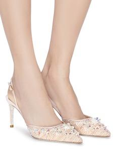 RENÉ CAOVILLA 仿水晶蕾丝露跟鞋