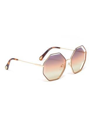 模特儿示范图 - 点击放大 - CHLOÉ - Poppy金属几何框镂空渐变太阳眼镜