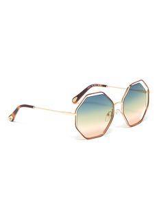Chloé Poppy金属几何框镂空渐变太阳眼镜
