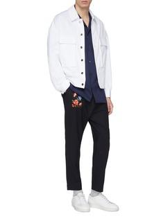 FFIXXED STUDIOS 花卉及格纹布饰拼接低裆露踝裤