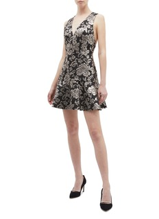 alice + olivia Marleen花卉刺绣V领连衣裙