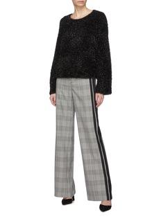 alice + olivia Paulette侧条纹格纹阔腿裤