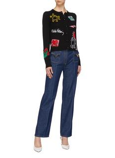 alice + olivia x Keith Haring Foundation Ruthy爱心空心小人针织开衫