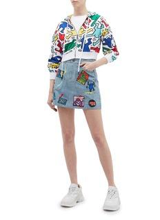 alice + olivia x Keith Haring Foundation Coletta趣味徽章牛仔半裙