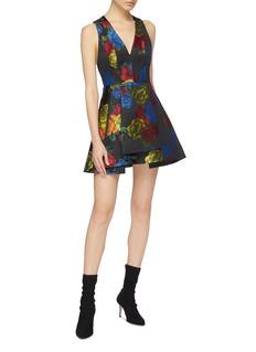 alice + olivia Tanner花卉V领褶裥喇叭连衣裙