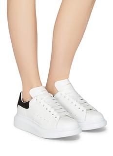 Alexander McQueen Larry绒面皮拼贴真皮厚底运动鞋