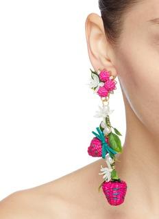 Mercedes Salazar 花叶编织草莓造型吊坠夹耳耳环