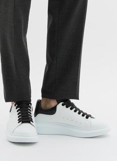 Alexander McQueen Larry蛇纹皮拼接真皮厚底运动鞋