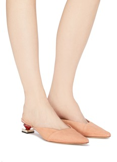 JACQUEMUS Macielo不对称几何鞋跟绒面真皮穆勒鞋