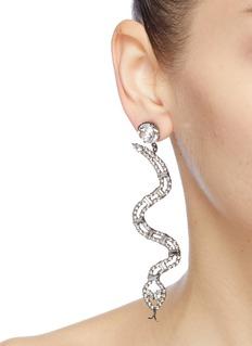 JOOMI LIM Viscious Cobra不对称仿水晶英文字及蟒蛇耳环