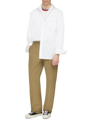 模特儿示范图 - 点击放大 - Marni - 暗条纹细节宽松府绸衬衫