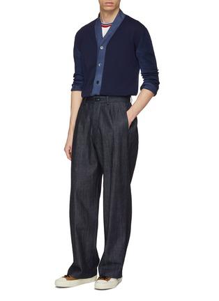 模特儿示范图 - 点击放大 - Marni - 拼色混初剪羊毛针织开衫