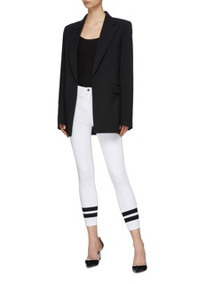 L'AGENCE Margot双重条纹修身露踝牛仔裤