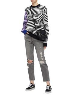Double Rainbouu 拼色衣袖斑马纹混羊毛针织衫