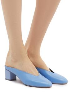 Gray Matters Mildred方形粗跟真皮穆勒鞋