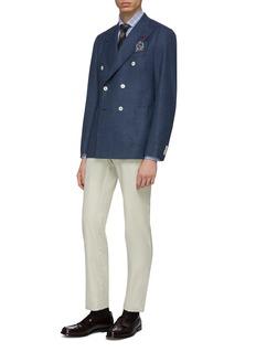 ISAIA Cortina双排扣羊毛混丝及亚麻西服外套