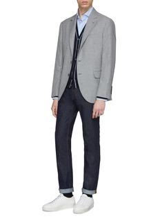 Brunello Cucinelli 千鸟格亚麻混羊毛及丝西服外套