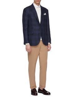 Brunello Cucinelli 格纹亚麻混羊毛及丝西服外套