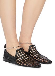 JIL SANDER 金属圆环镂空编织真皮平底鞋