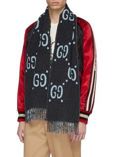 GUCCI GG品牌标志及格纹围巾