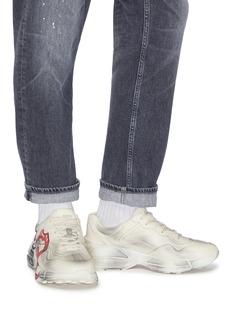 Gucci Rhyton嘴唇印花做旧感真皮厚底运动鞋