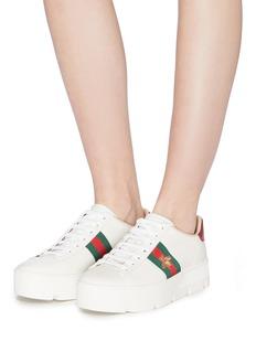 GUCCI New Ace仿宝石交叉搭带真皮厚底运动鞋