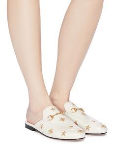 Gucci Princetown五角星蜜蜂刺绣真皮乐福拖鞋