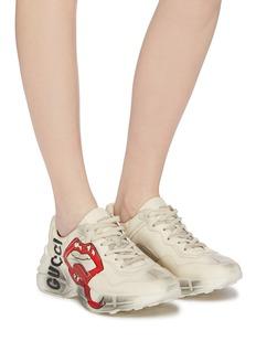 Gucci Rhyton嘴唇做旧真皮oversize运动鞋