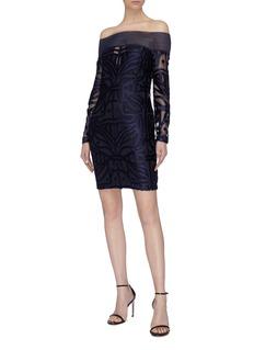 alice McCALL Lunar Eclipse几何纹理一字领连衣裙