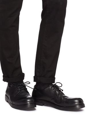 模特儿示范图 - 点击放大 - Marsèll - 光滑皮拼接皱感真皮德比鞋