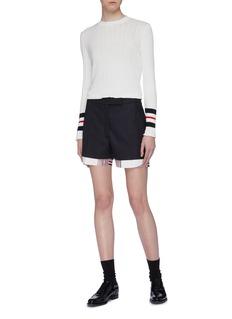 Thom Browne 三色条纹内衬羊毛西服短裤