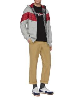 Moose Knuckles Concordia logo条纹夹棉尼龙拼接纯棉连帽卫衣