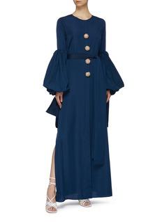 Leal Daccarett Gorgona珠饰钮扣喇叭袖衬衫裙