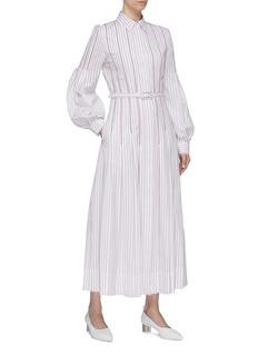 Gabriela Hearst Chelsea灯笼袖褶裥条纹刺绣衬衫裙