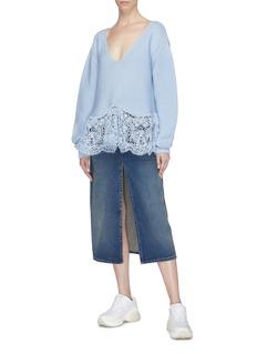 STELLA MCCARTNEY 镂空蕾丝下摆系带V领针织衫