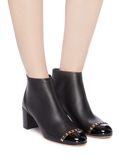Salvatore Ferragamo Atri漆皮鞋头链条缀饰真皮粗跟短靴