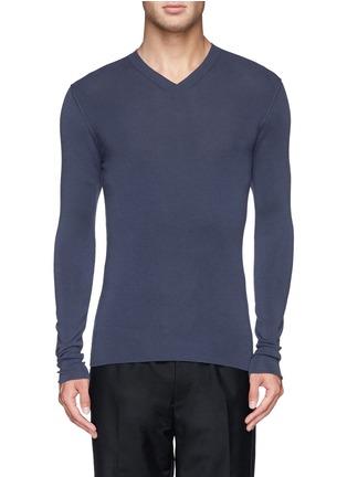 首图 - 点击放大 - DOLCE & GABBANA - 纯色V领羊毛针织衫