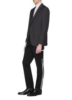 Calvin Klein 205W39NYC 拼色条纹羊毛华达呢修身长裤