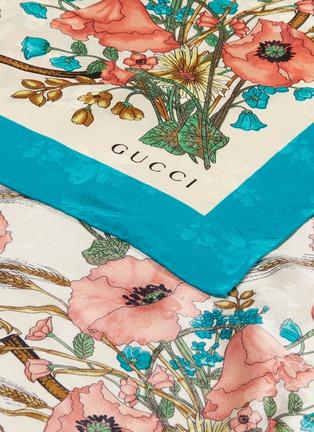 细节 - 点击放大 - Gucci - Lady Clicot罂粟花花束提花真丝围巾