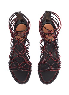 ALAÏA 车缝线点缀真皮系结凉鞋