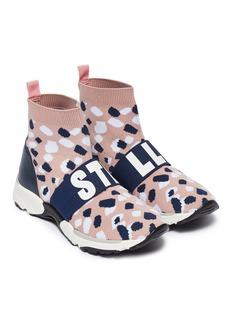 STELLA MCCARTNEY KIDS 儿童款品牌名称松紧带笔触针织运动鞋
