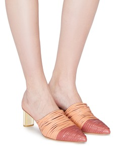 Cult Gaia Sage金属粗跟多重真皮搭带穆勒鞋