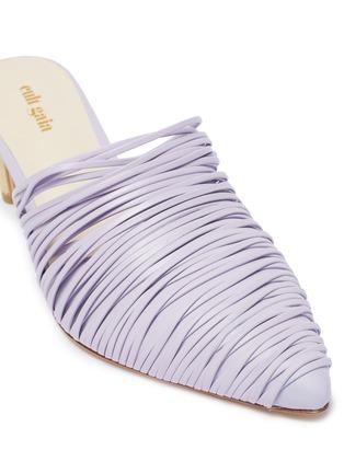 细节 - 点击放大 - Cult Gaia - Sage金属粗跟多重真皮搭带穆勒鞋