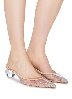Cult Gaia Alia透明圆形粗跟镂空PVC穆勒鞋