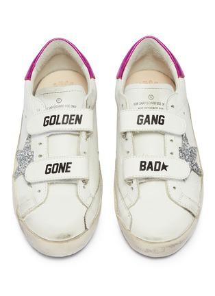 模特儿示范图 - 点击放大 - Golden Goose - Old School儿童款魔术贴搭带真皮运动鞋