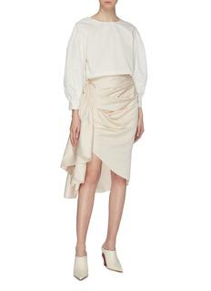 Solace London Belot系带褶裥布饰不对称半裙