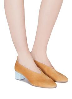 Gray Matters Mildred拼色粗跟绒面真皮奶奶鞋