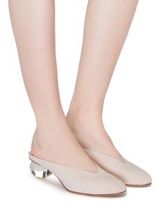 Gray Matters Mildred透明鸡蛋跟绒面真皮穆勒鞋