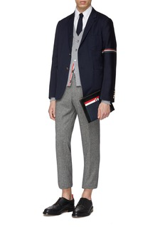 THOM BROWNE 条纹罗缎布饰羊毛混棉西服外套